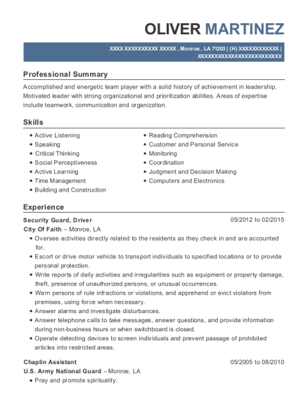 Security Guard resume format Louisiana