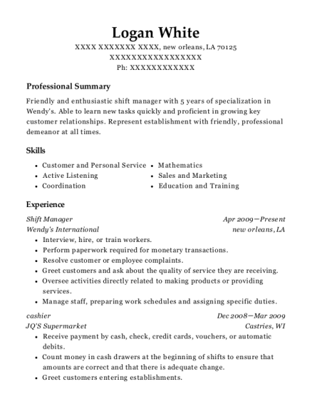 Shift Manager resume template Louisiana