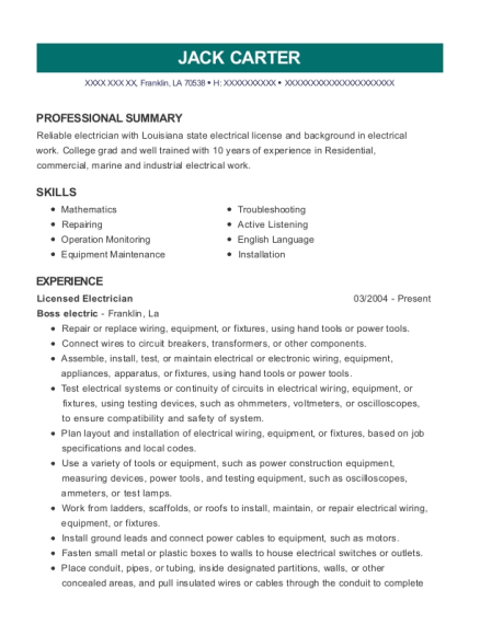 Licensed Electrician resume example Louisiana
