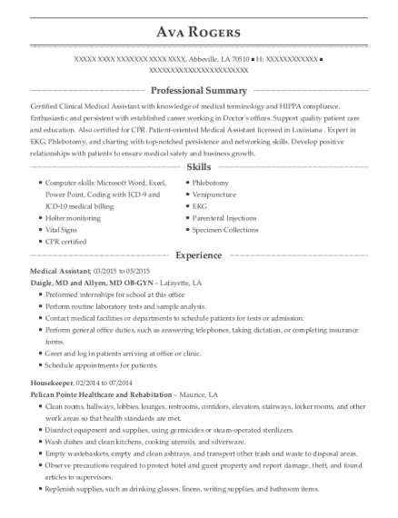 Medical Assistant resume sample Louisiana