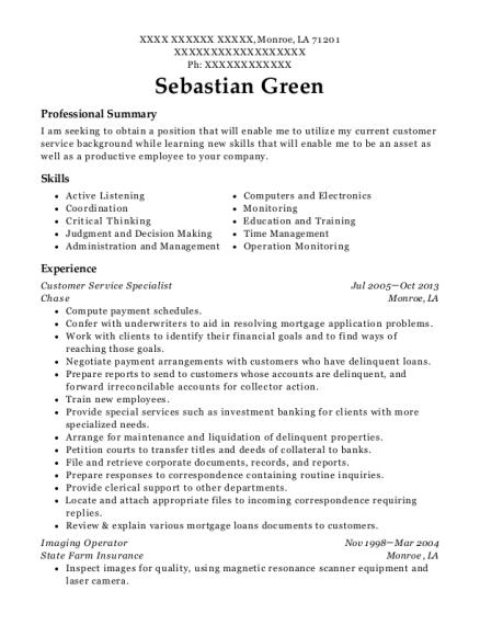 Customer Service Specialist resume example Louisiana