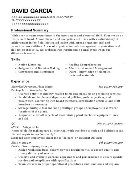 Electrical Foreman resume sample Louisiana