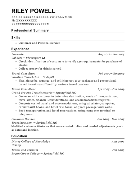 Bartender resume sample Louisiana