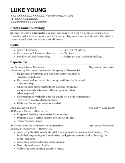 Sr Personal Lines Processor resume template Louisiana