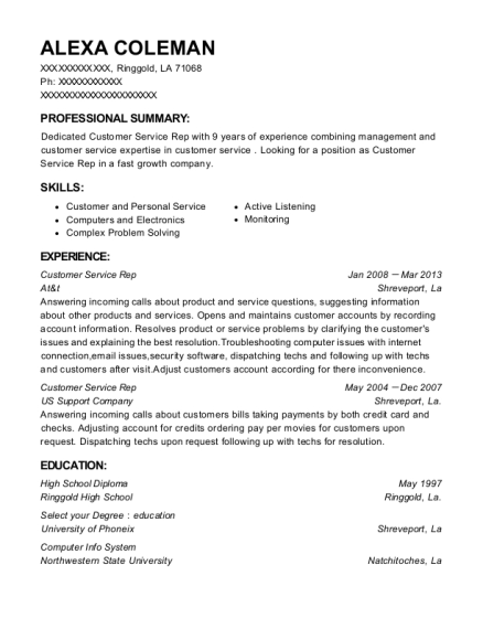 Customer Service Rep resume example Louisiana