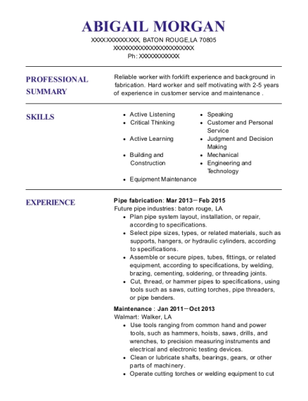 Pipe fabrication resume format Louisiana