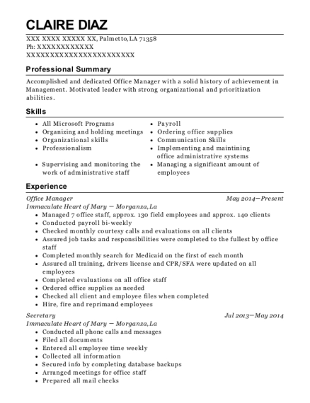 Office Manager resume template Louisiana