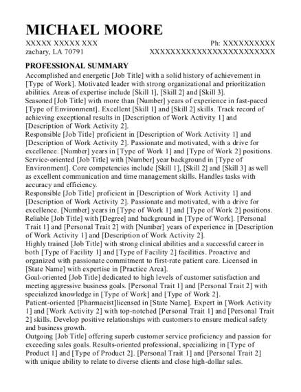 machine operator resume format Louisiana