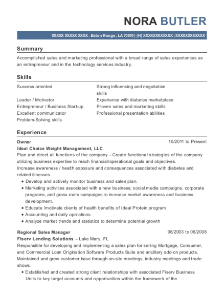 Owner resume format Louisiana