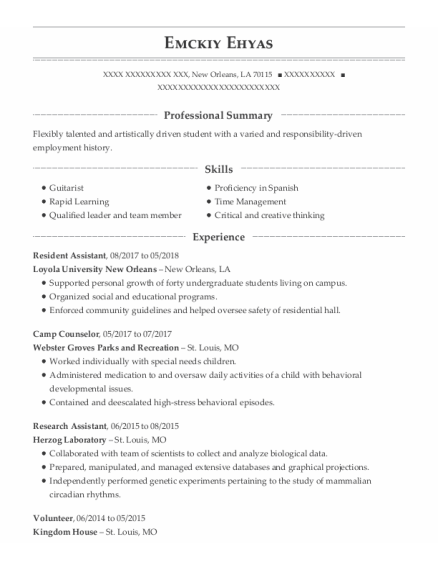 Resident Assistant resume sample Louisiana