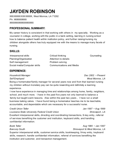 Household Manager resume template Louisiana