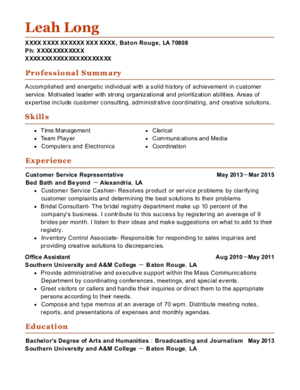 Customer Service Representative resume example Louisiana