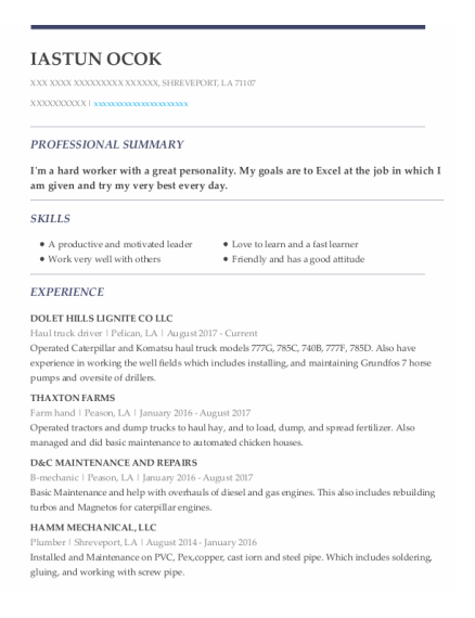 Haul Truck Driver resume example Louisiana