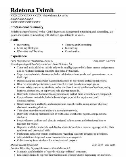 Mental Health Specialist resume format Louisiana