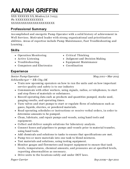 Senior Pump Operator resume format Louisiana