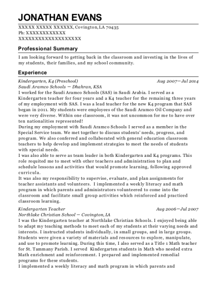 Kindergarten resume example Louisiana