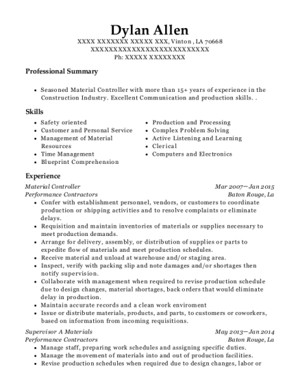 Material Controller resume template Louisiana
