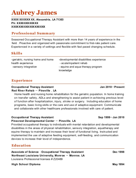Occupational Therapy Assistant resume template Louisiana