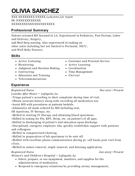 Registered Nurse resume template Louisiana