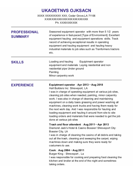 Equiptment Operator resume sample Louisiana