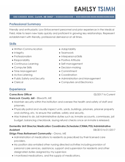 Corrections Officer 2 resume format Maine