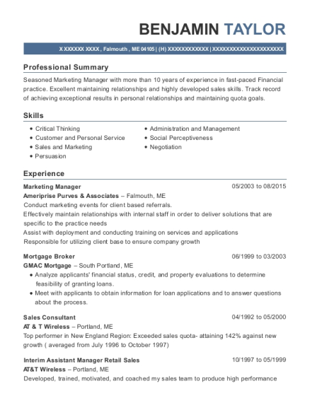 Marketing Manager resume template Maine