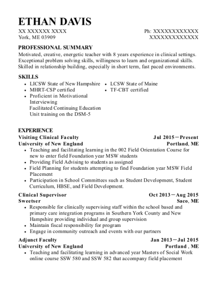 Visiting Clinical Faculty resume sample Maine