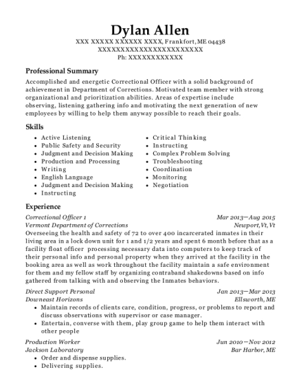 Correctional Officer 1 resume example Maine