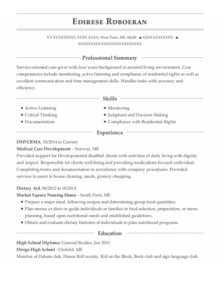 DSP resume template Maine