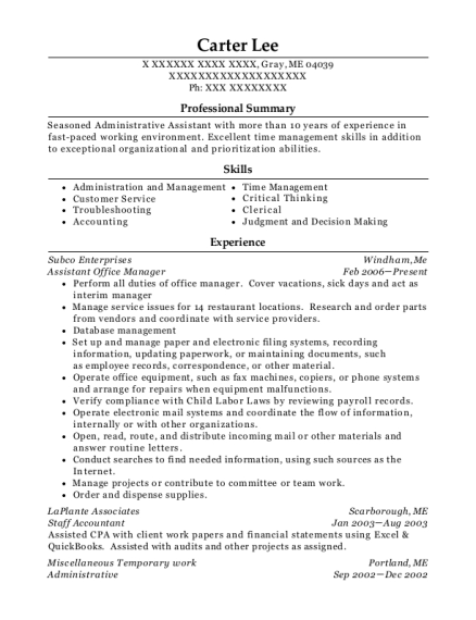 Assistant Office Manager resume sample Maine