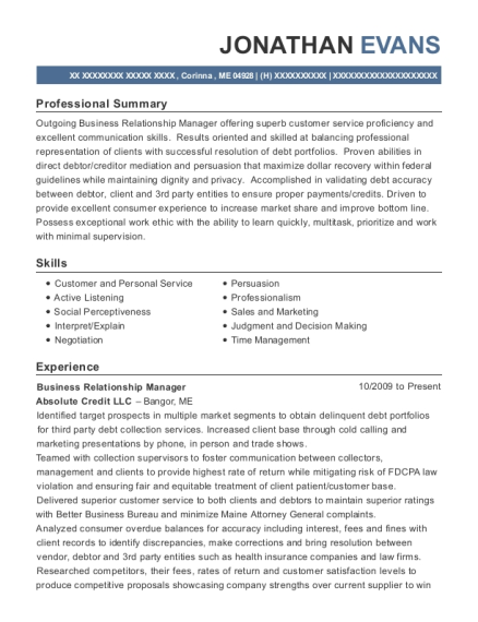 Business Relationship Manager resume example Maine