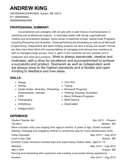 Student Teacher Aid resume sample Maine