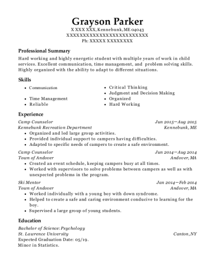 Camp Counselor resume example Maine