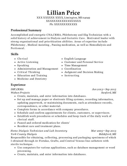 DSP resume example Maine