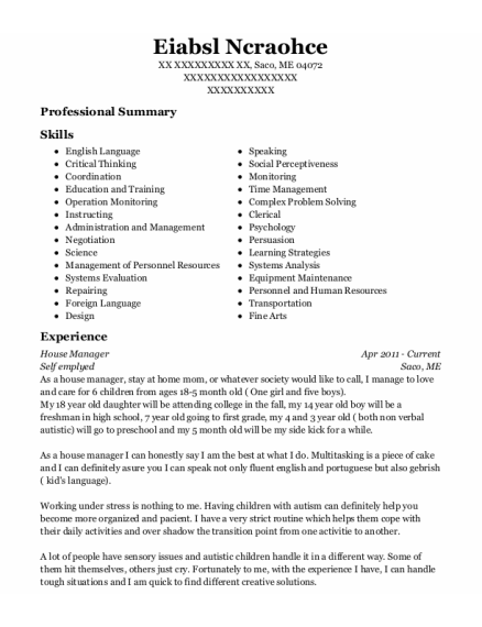 House Manager resume template Maine
