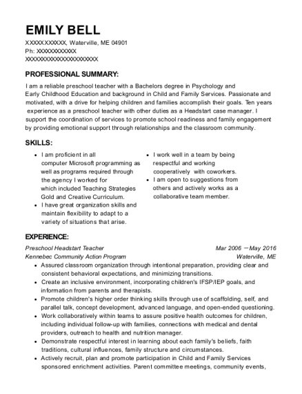 Preschool Headstart Teacher resume sample Maine