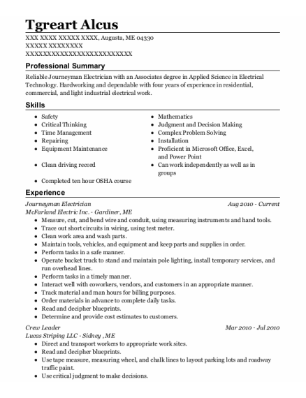 Journeyman Electrician resume template Maine