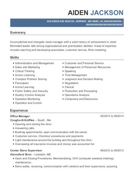 Office Manager resume example Maine