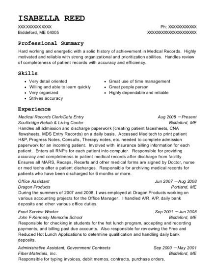 Medical Records Clerk resume template Maine