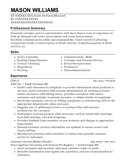CSR II resume sample Maine