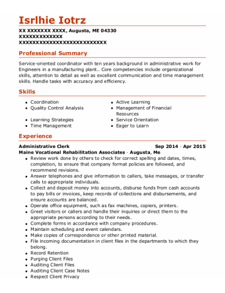 Administrative Clerk resume example Maine