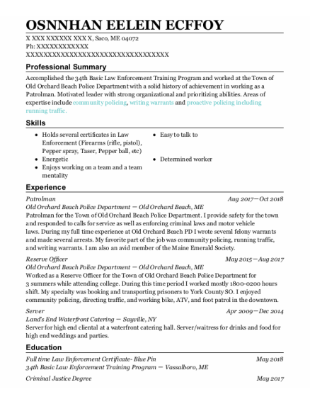 Patrolman resume example Maine