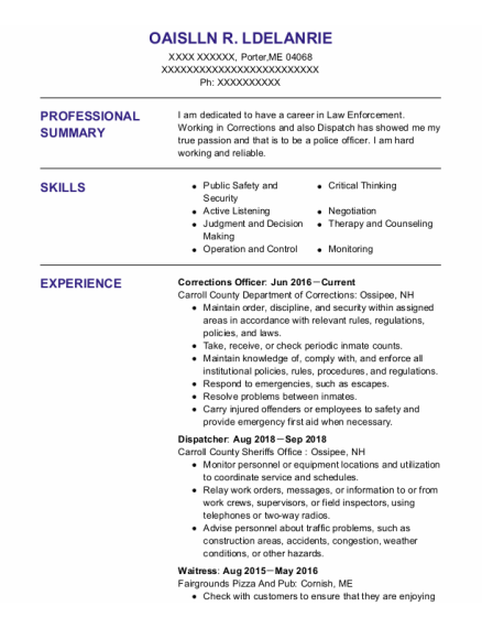 Corrections Officer resume format Maine