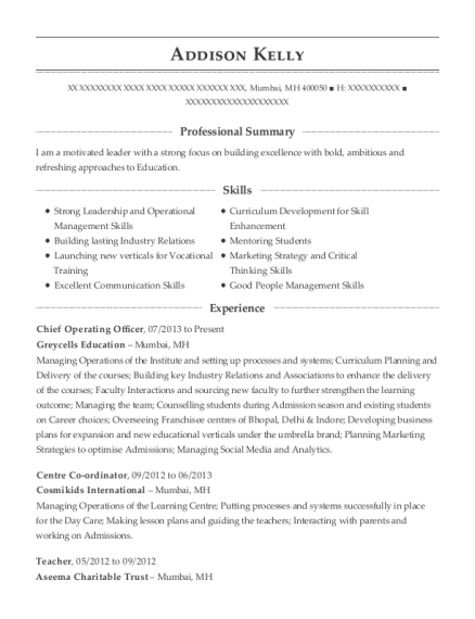 Chief Operating Officer resume example Marshall Islands
