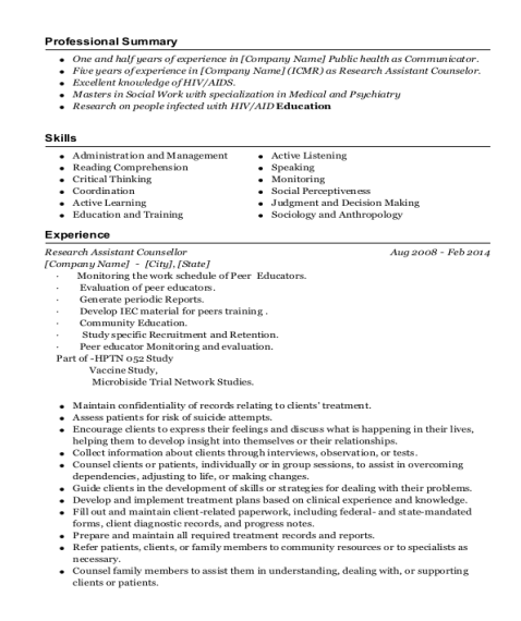 Research Assistant Counsellor resume sample Marshall Islands