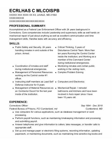 Corrections Officer 2 resume example Maryland