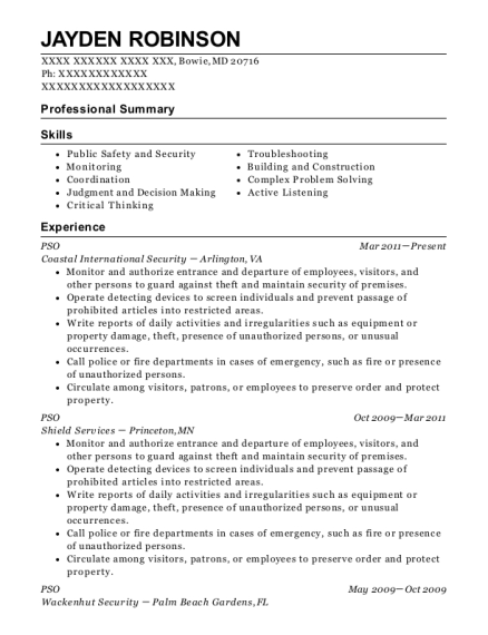 PSO resume format Maryland