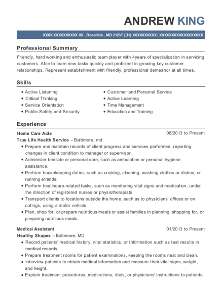 Home Care Aide resume sample Maryland