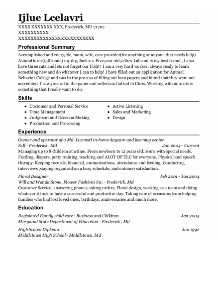 Owner and operator of a Md Licensed in home daycare and learning center resume sample Maryland