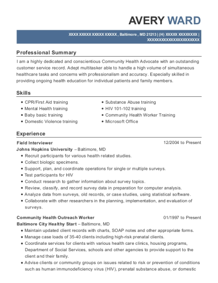 Field Interviewer resume sample Maryland